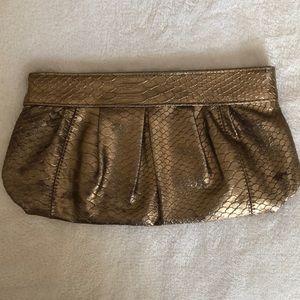 Bronze Faux Snake Skin Clutch